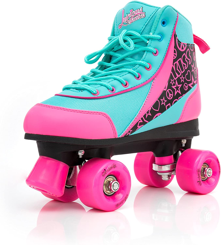Girls Boys Adult Size Jnr 11 UK 10 NEW Luscious Retro Quad Disco Roller Skates