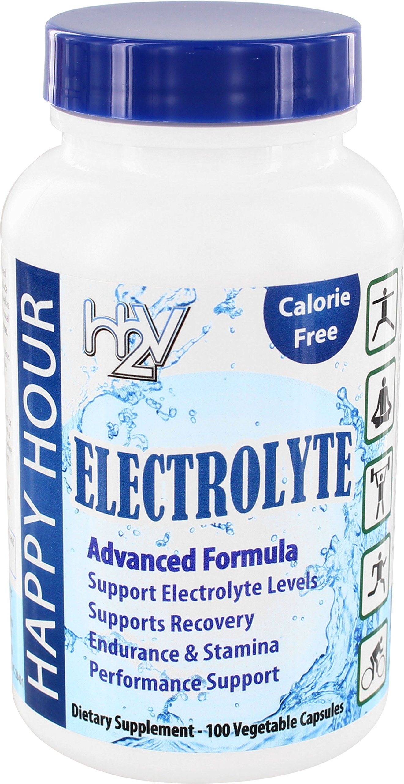 Electrolyte Pills– Helping w/Dehydration, Muscle cramping, Performance & Rapid Recovery. Vegetarian Capsules with Magnesium, Potassium, Sodium & Calcium from Happy Hour Vitamins