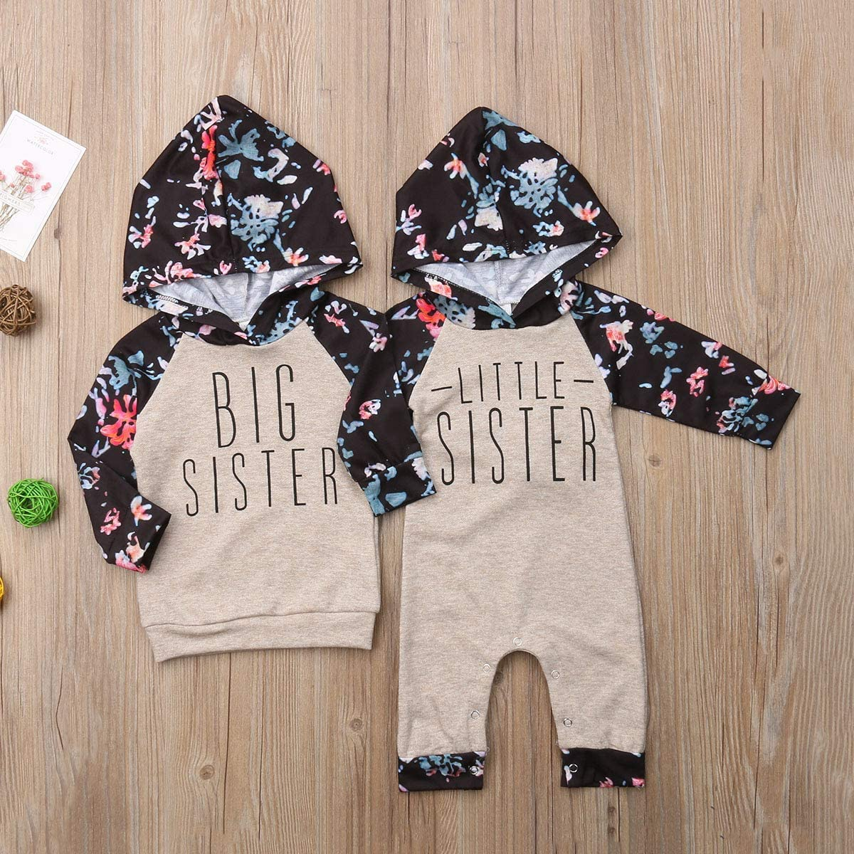 WANGSGOGO Baby Girl Sister Matching Clothes Floral Hoodie Sweatshirts Tops Long Sleeve Bodysuit Kids Jumpsuit Romper Outfit