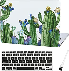 MacBook Pro 13 inch Case Cover A1502 A1425 Cactus Plastic Laptop Hard Shell Cover Sleeve Matte Rubberized (2012 2013 2014 2015 Release) with Silicone Keyboad Cover and Dust Brush(Cactus-Blue Flower)