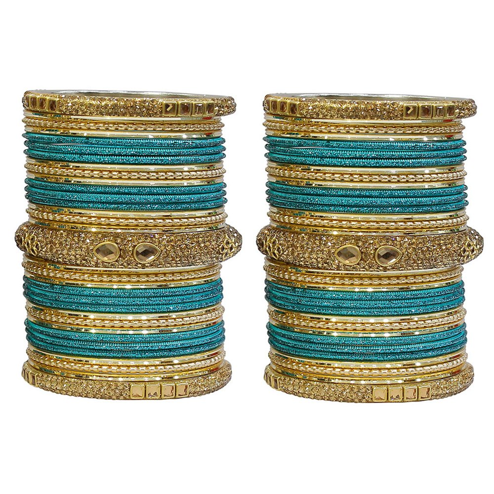 MUCH-MORE Set of 66 Multi Color Indian Party wear Bangles With Lakh Kade For Women (Radium, 2.8)