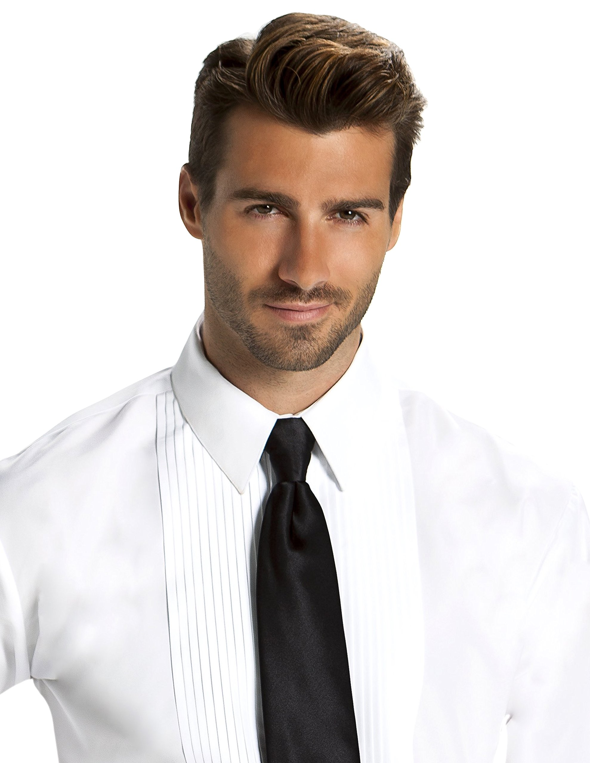 Men's Fitted 1/4 inch Pleated Tuxedo Shirt, Laydown Collar