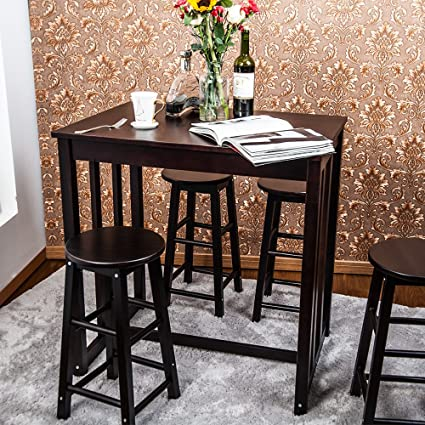 Amazon.com: Dining Table Set, Rockjame 5 Pcs Wooden High Pub ...