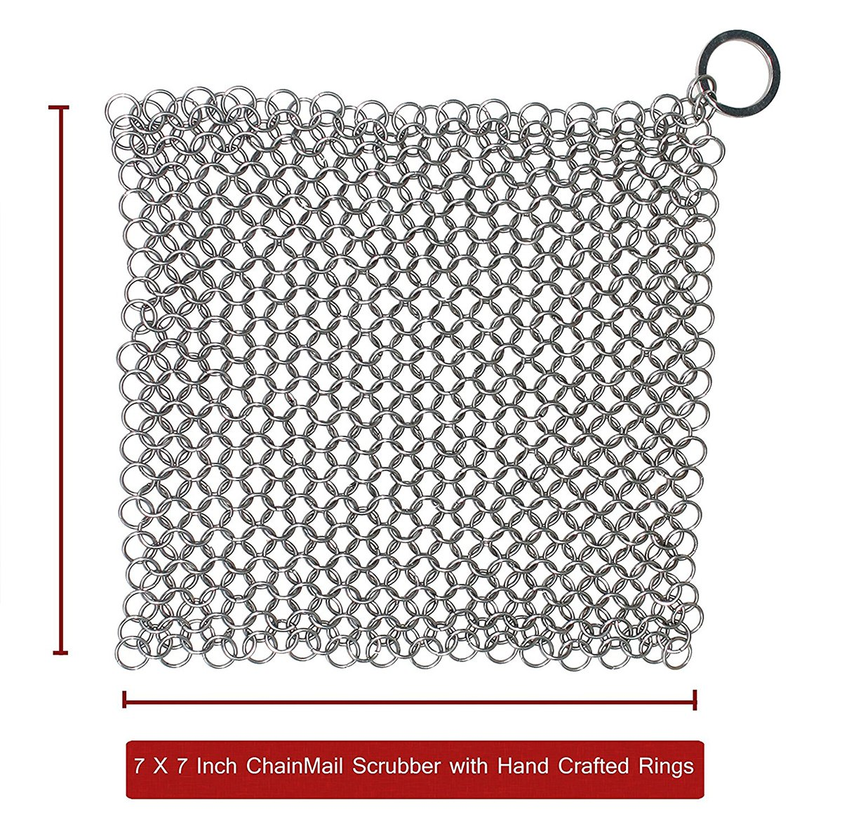 The Best Handcrafted Premium Cast Iron Cookware Cleaner by VMIZIV - 7x7 Inch Food Grade Stainless Steel Chainmail Scrubber