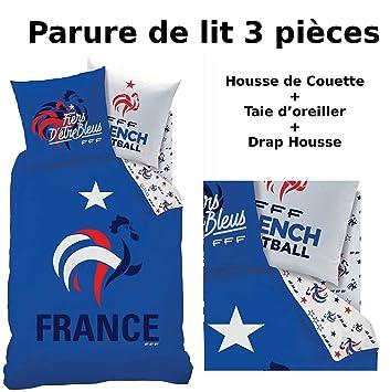 FFF - EQUIPE DE FRANCE - Parure de lit (3pcs) - Housse de Couette ...