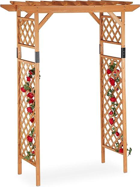 Relaxdays Pérgola de jardín, Arco para Rosas, Soporte para Plantas, Madera, 230x162x79 cm, Naranja