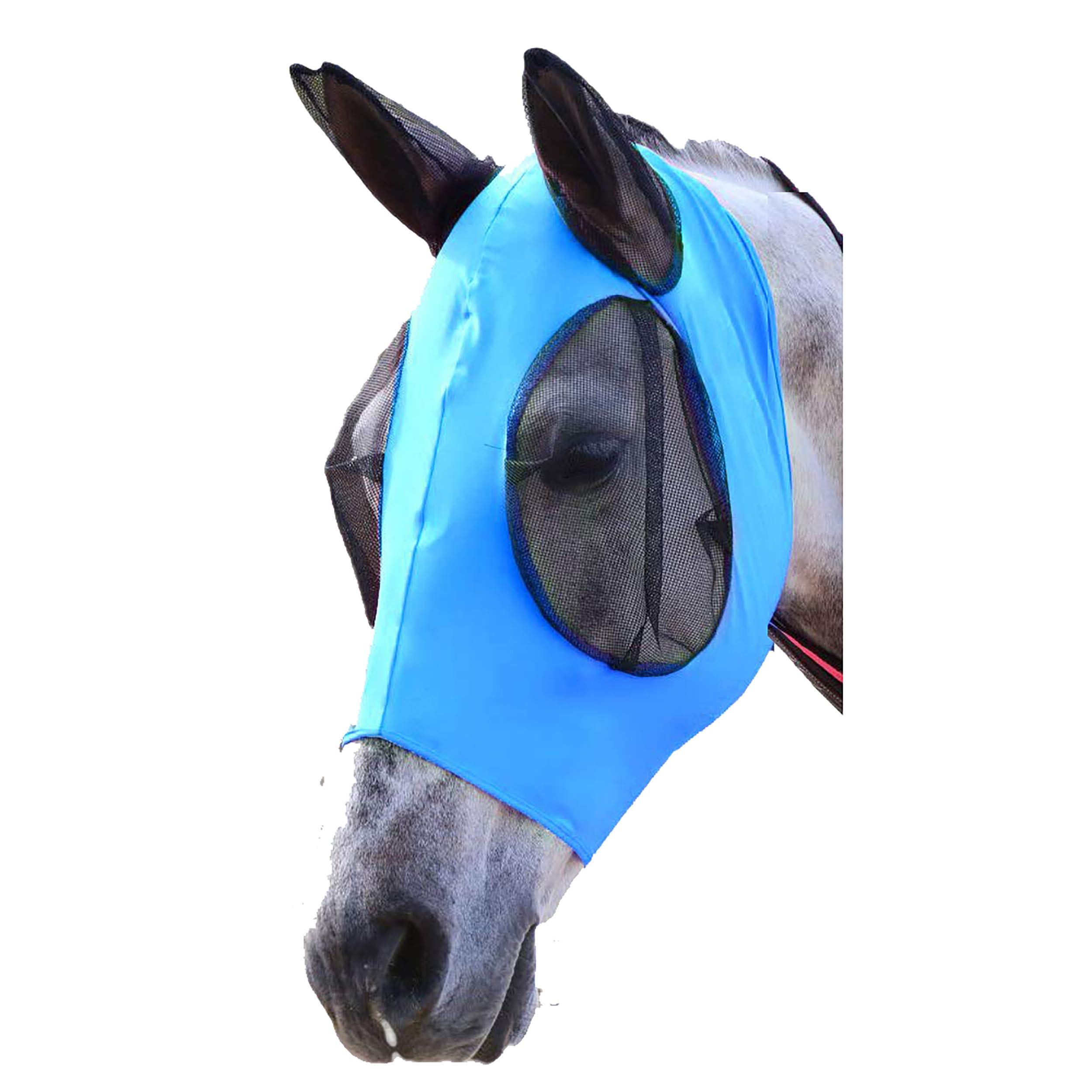 SISIDZ Horse Fly Mask with Ears Protection Half Face Mesh Avoids UV Equestrian for Cob (Blue) by SISIDZ