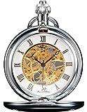 [ケーエス]KS 懐中時計 手巻き機械式 スケルトン アンティーク シルバー KSP007