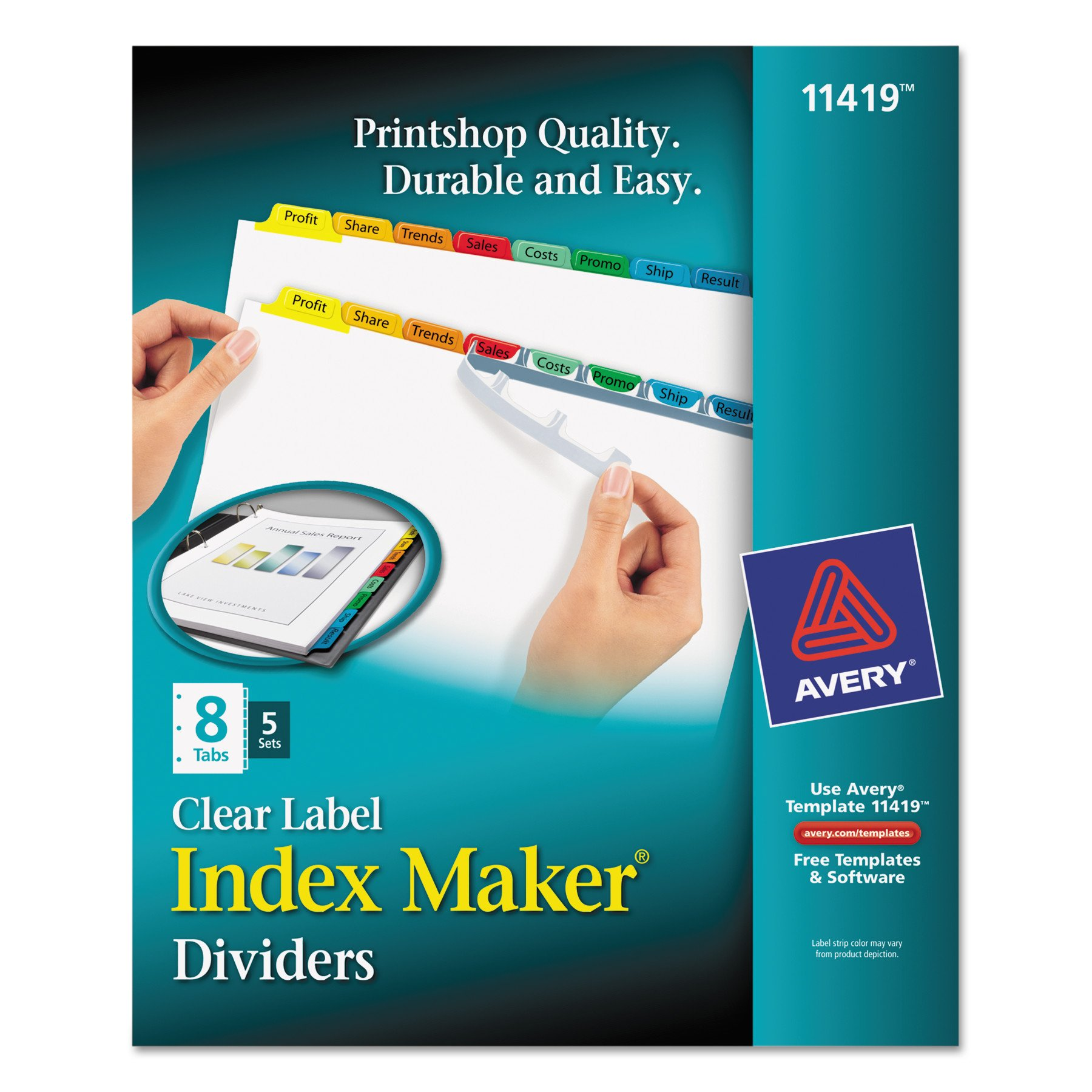 Avery Index Maker Label Dividers, Easy Apply Label Strip, 8-Tab, Clear, 5 Sets (11419)