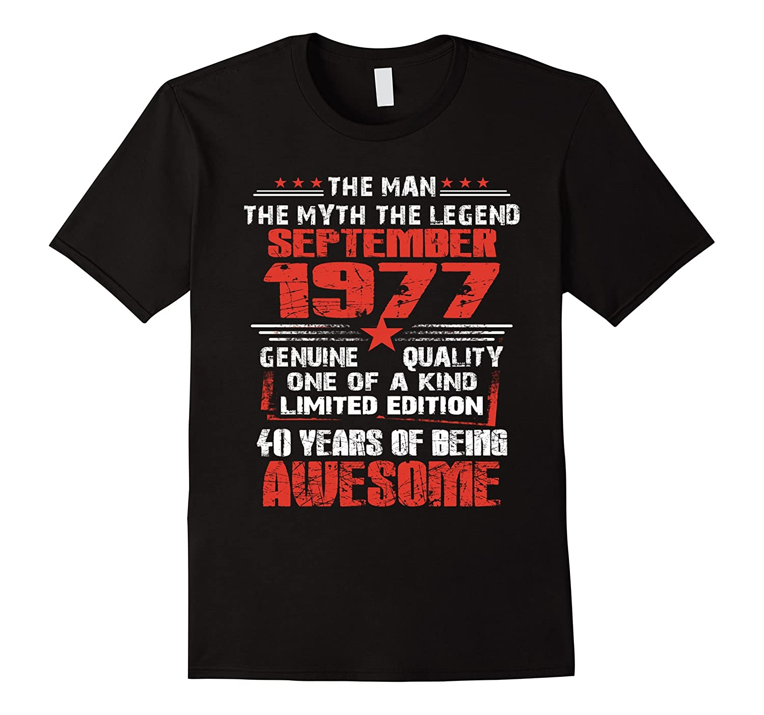 40th Birthday Gifts September 1977 40 Years Old T-shirt-Art