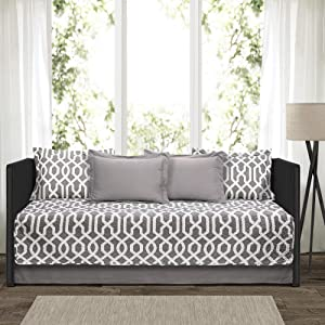 "Lush Decor Edward Trellis Patterned 6 Piece Daybed Cover Set Includes Bed Skirt, Pillow Shams and Cases, 75"" X 39"", Gray and White"