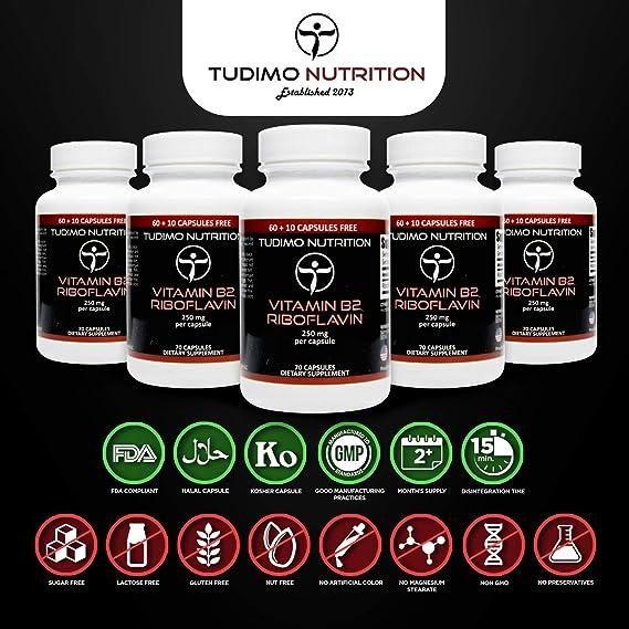 Vitamina B2 | 250 mg | Riboflavina Cápsulas – 70 pzas (2+ Meses de provisión) de Cápsulas de Desintegración Rápida, cada una con 250mg de polvo de Riboflavina: Amazon.es: Salud y cuidado personal