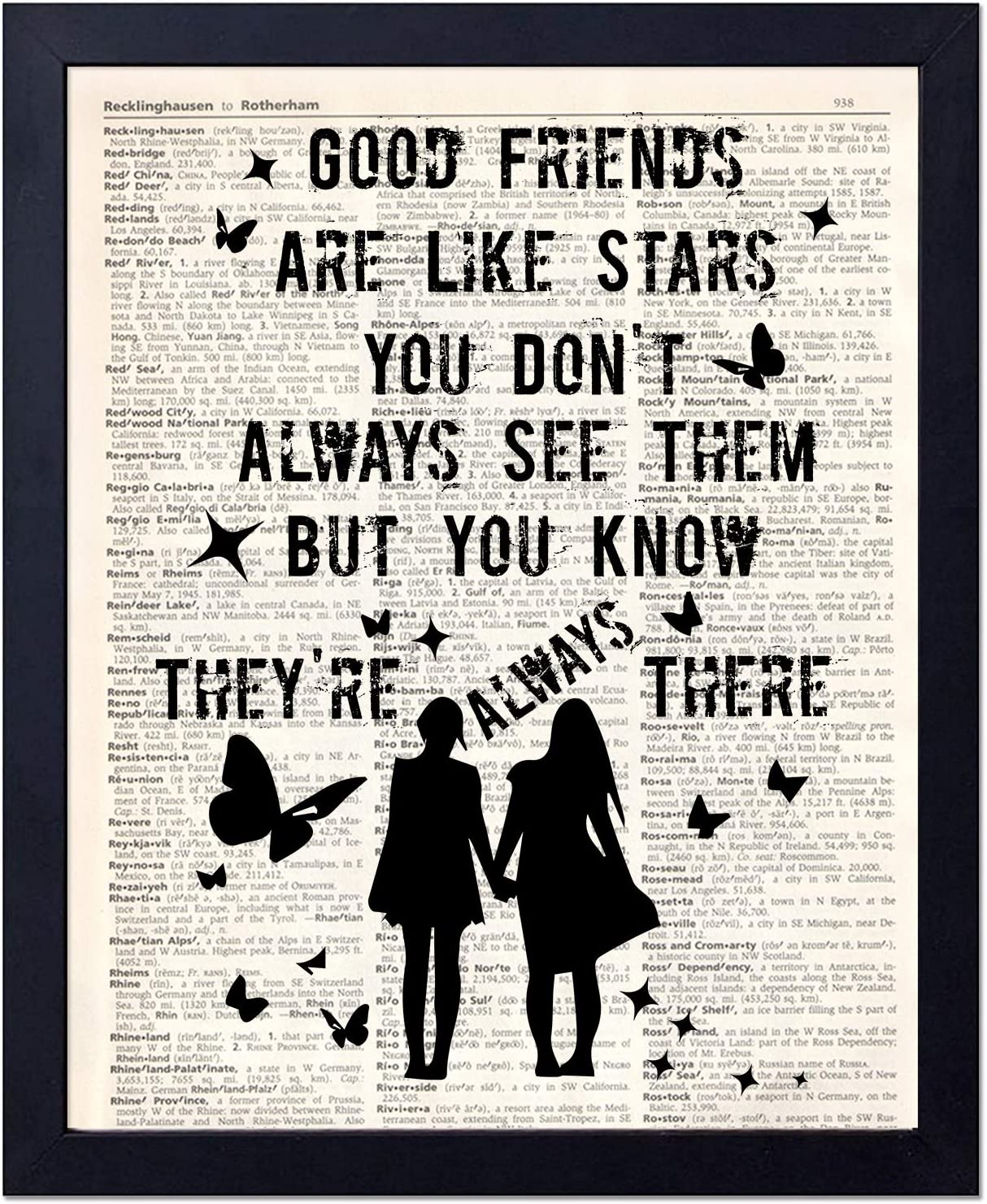 akeke Good Friends are Like Stars Vintage Dictionary Wall Art Print Gifts for Friends Sister 8 x 10 Unframed