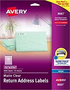 AVERY 8667 Ink Jet Clear Address Labels, 1/2 x 1-3/4, 2000 per Pack