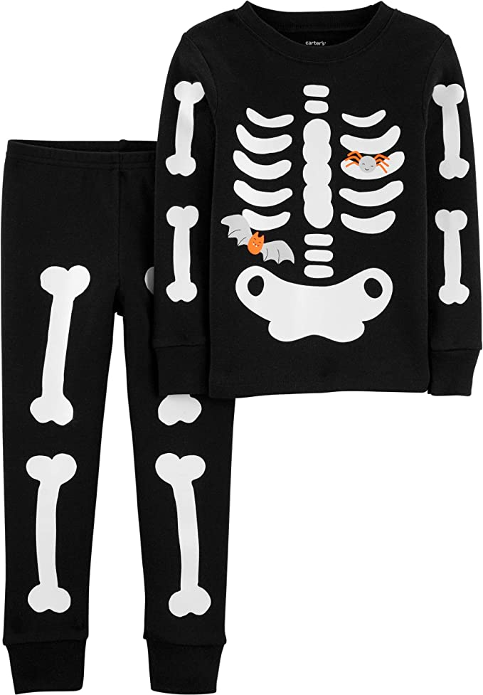 Mud Kingdom Glow in The Dark Toddler Kids Pajama Sets Halloween Skeleton Long Sleeve