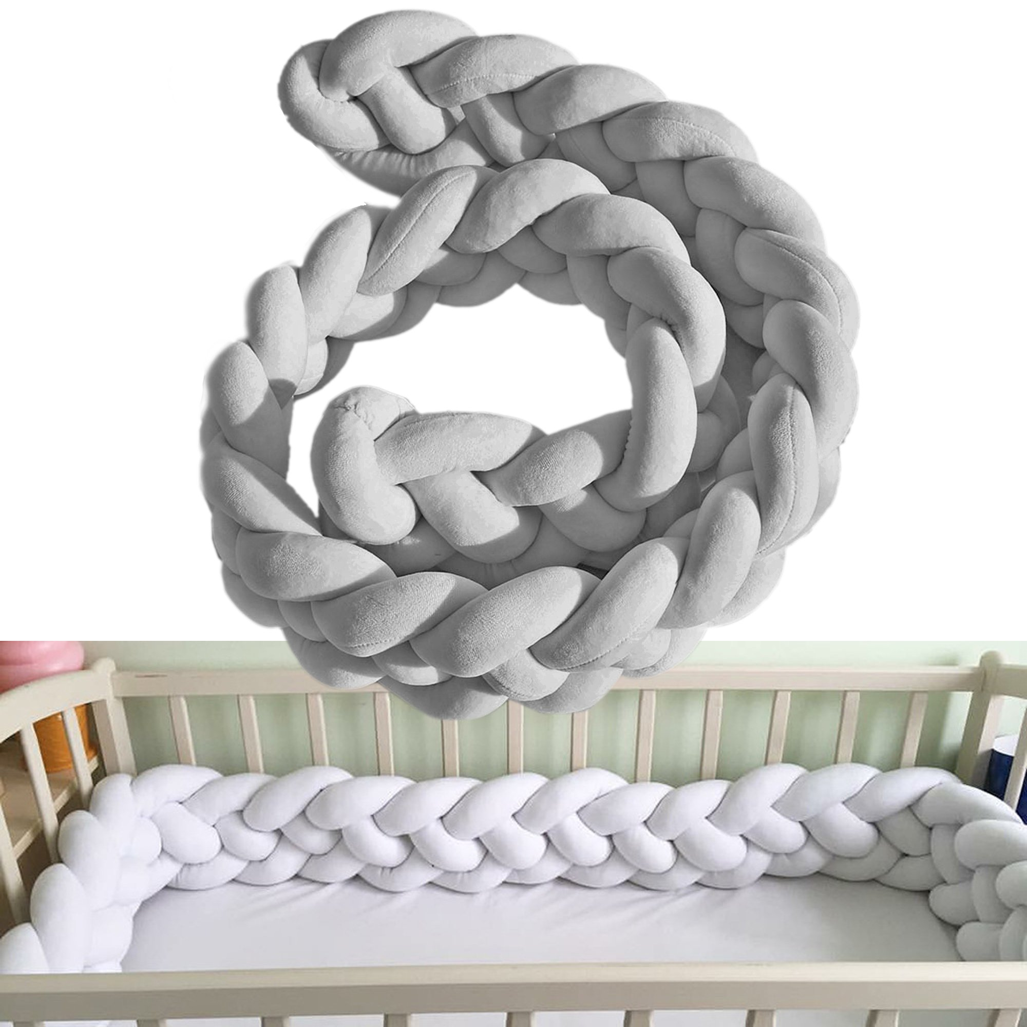 Baby Crib Bumpers 3-ply Braids Wide Protective Snake Pillow Home Decoration 39'' 59'' 79'' (Grey)