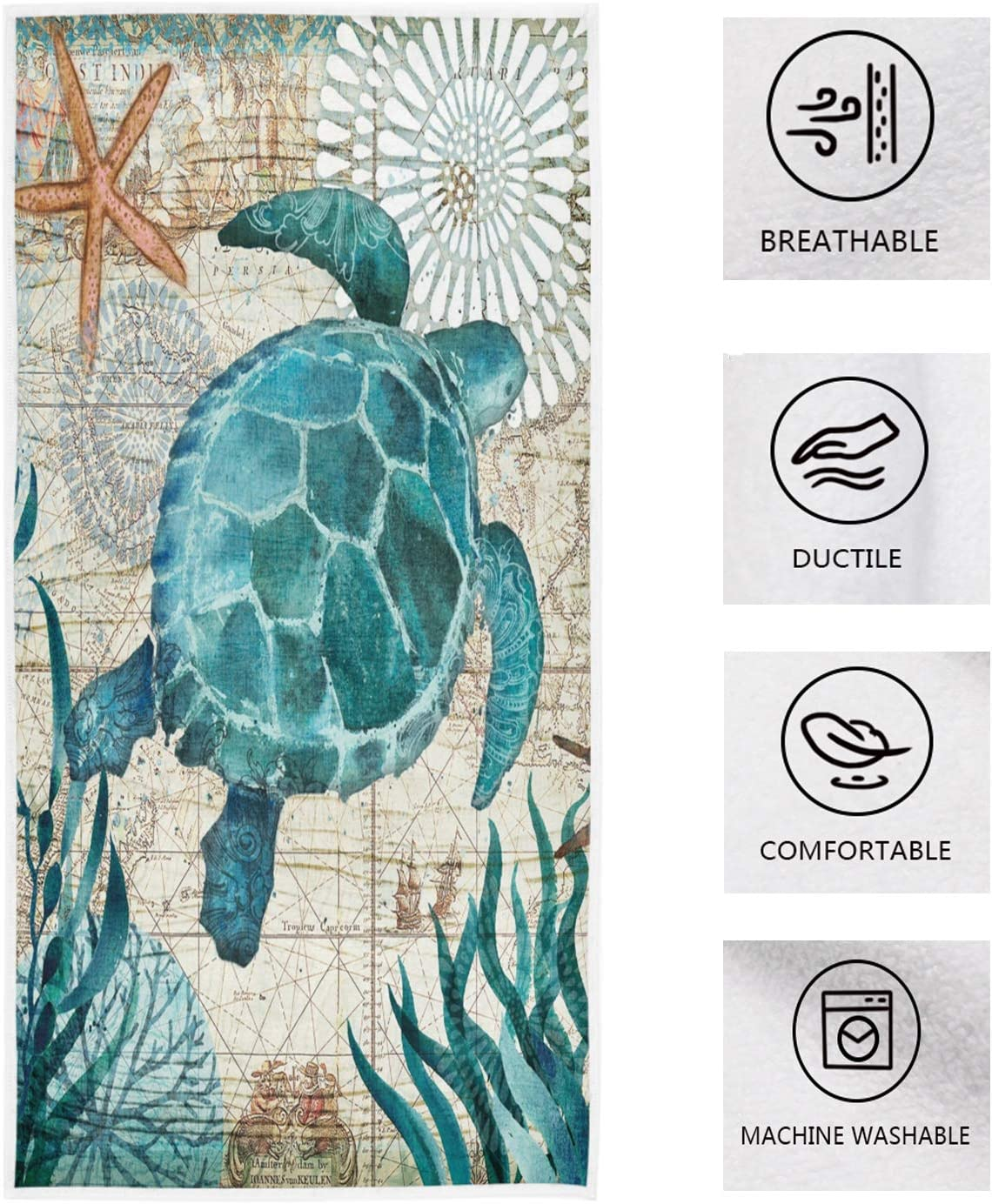 Pfrewn Sea Turtle Starfish Retro Map Hand Towels 16x30 in Fish Scale Thin Bathroom Towel, Ultra Soft Highly Absorbent Small Bath Towel Bathroom Decor Gifts