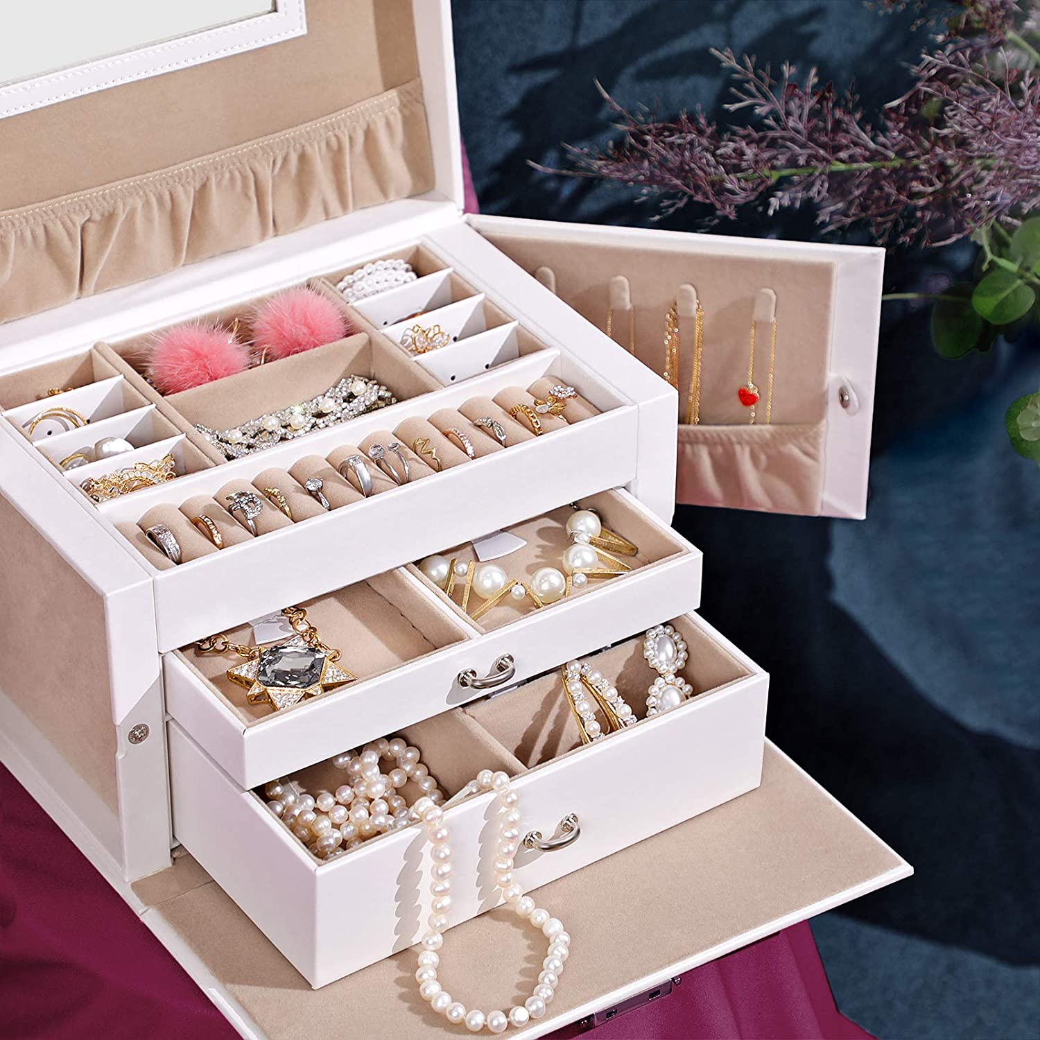 SONGMICS Jewellery Box Gift Bracelets Pink JBC121PK Jewellery Organiser with 2 Drawers for Rings Earrings Lockable Jewellery Case with Mirror Portable Travel Case Necklaces Velvet Lining