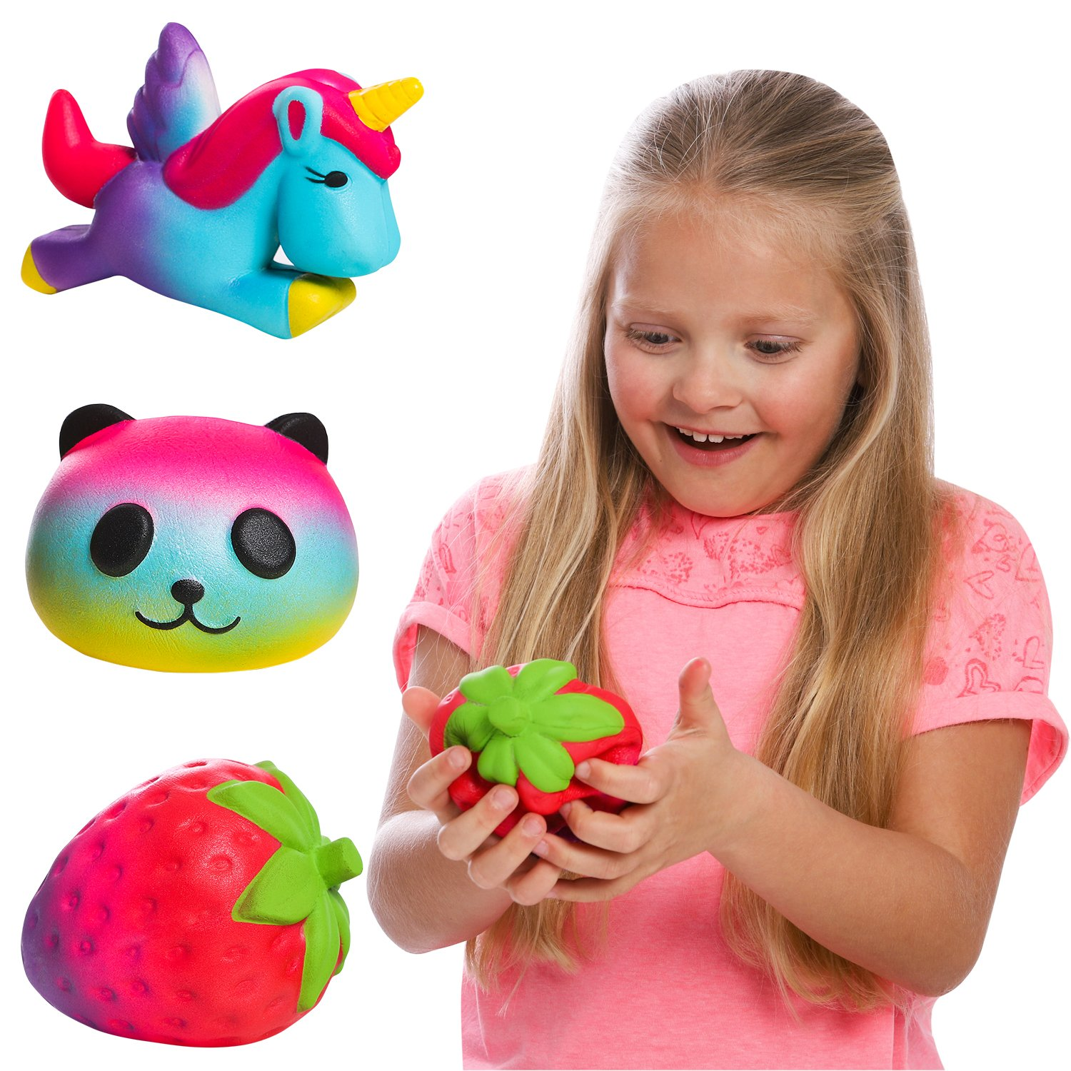 GirlZone Gifts for Girls: Set of 3 Slow Rising Squishies, Unique Colors, Stress Reducing, Scented Squishy, Birthday Present Gift for Girls Age 4 5 6 7 8 9+ by GirlZone (Image #1)