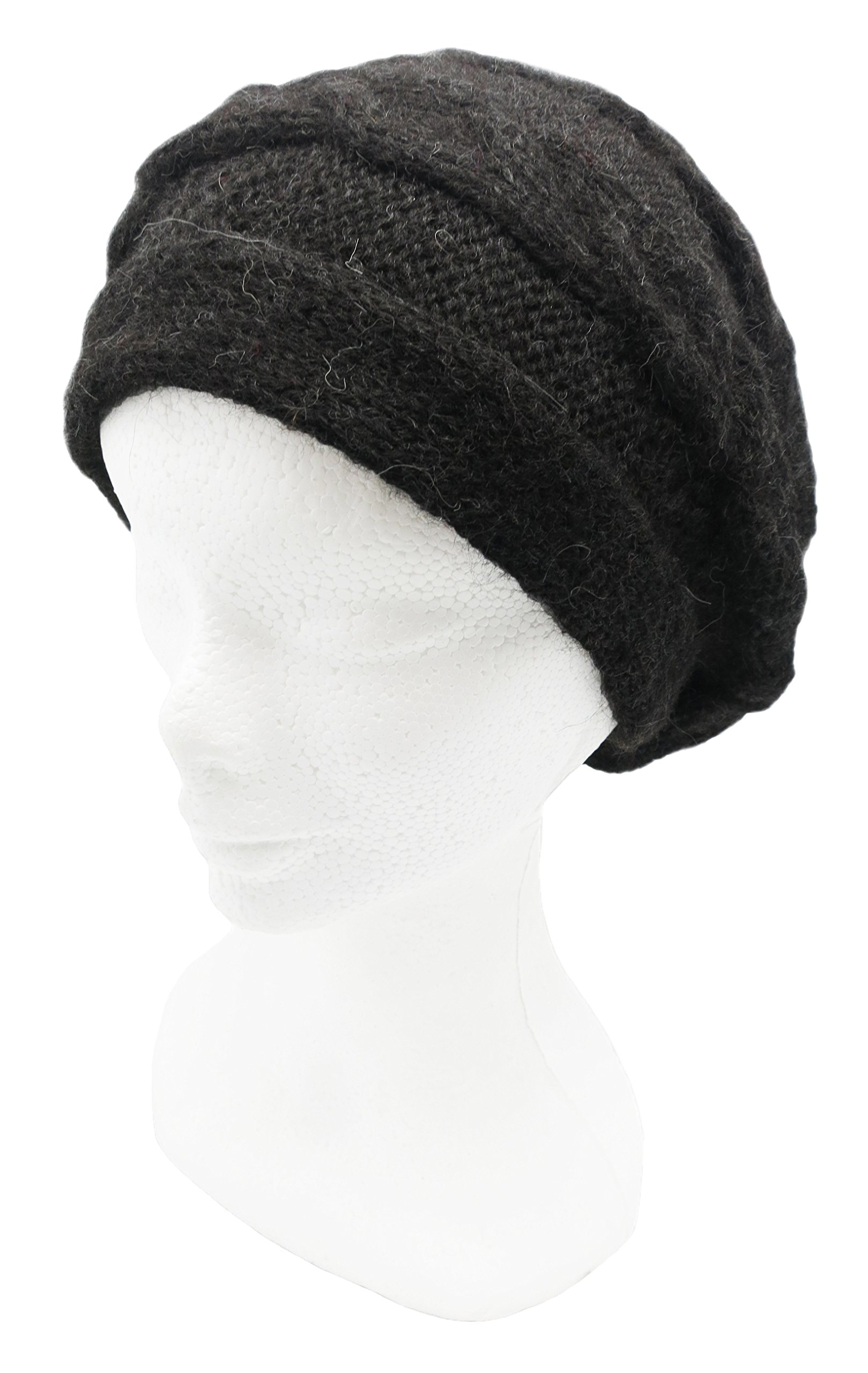 READY TO SHIP Knitted Signature PURE ALPACA Slouchy Beret for Snow (Dark Charcoal)