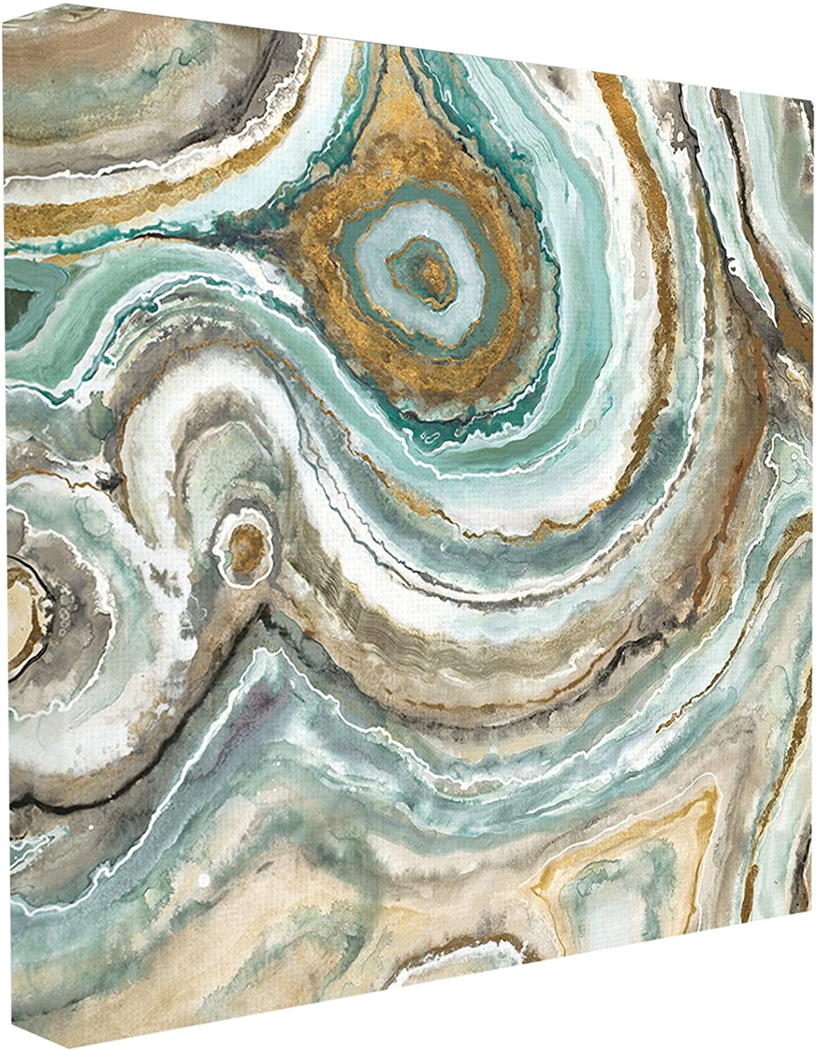 Stupell Home Décor Aqua Geode Stone Stretched Canvas Wall Art, 17 x 1.5 x 17, Proudly Made in USA