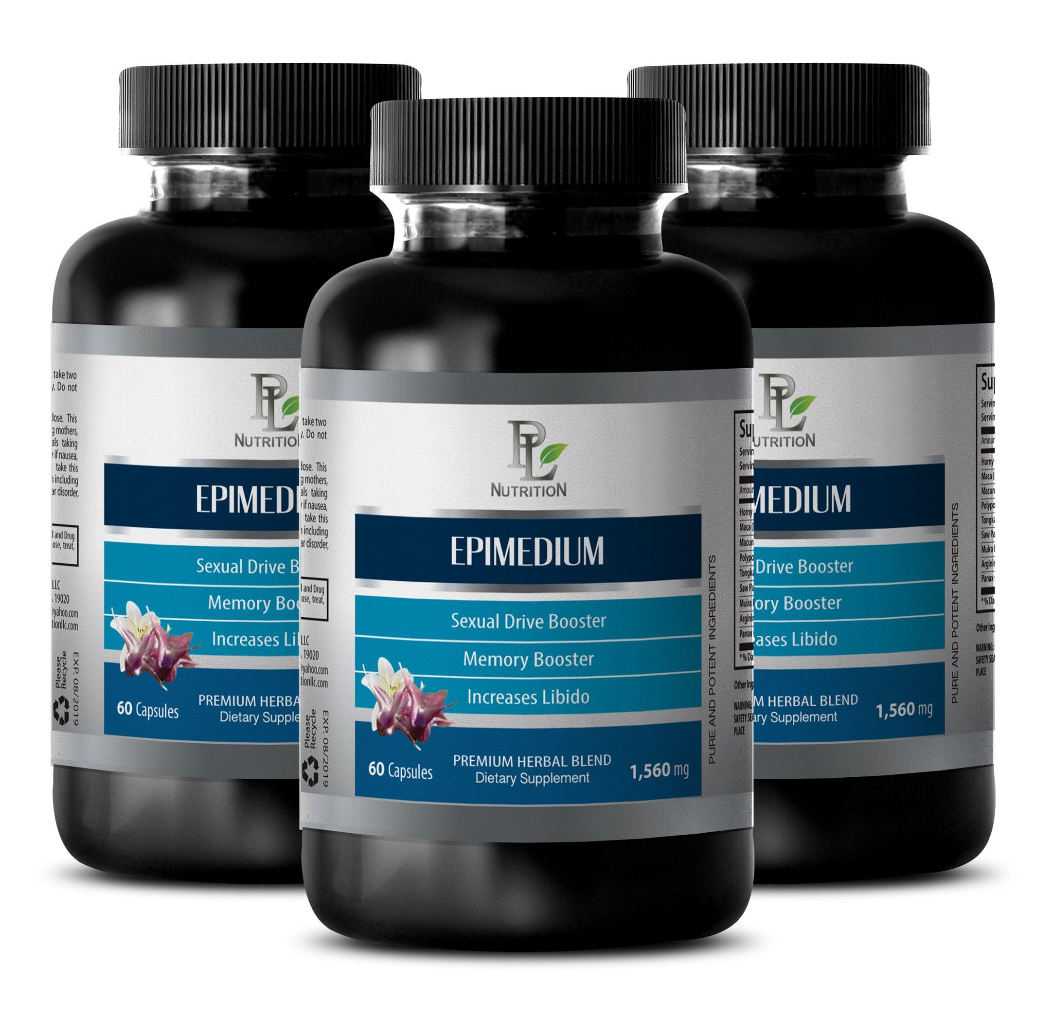enhancement all male premium - EPIMEDIUM 1560MG - horny goat weed icarin - 3 Bottles (180 Capsules)