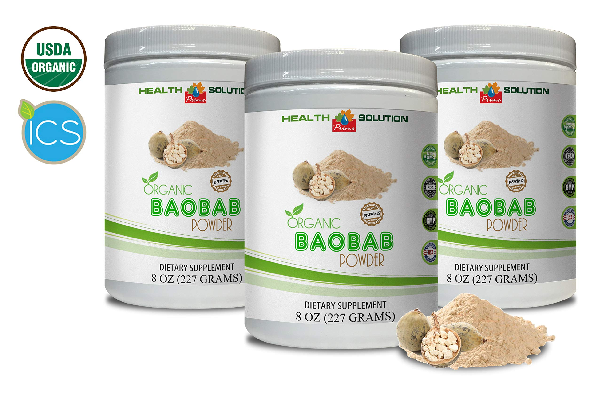 antioxidant multivitamin - Organic Baobab Powder - Digestion Vitamins - 3 Cans 24 OZ (150 Servings)