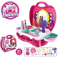 Skywalk Suitcase Pretend Play Toy and Makeup Accessories Set for Girls - 21 Pieces
