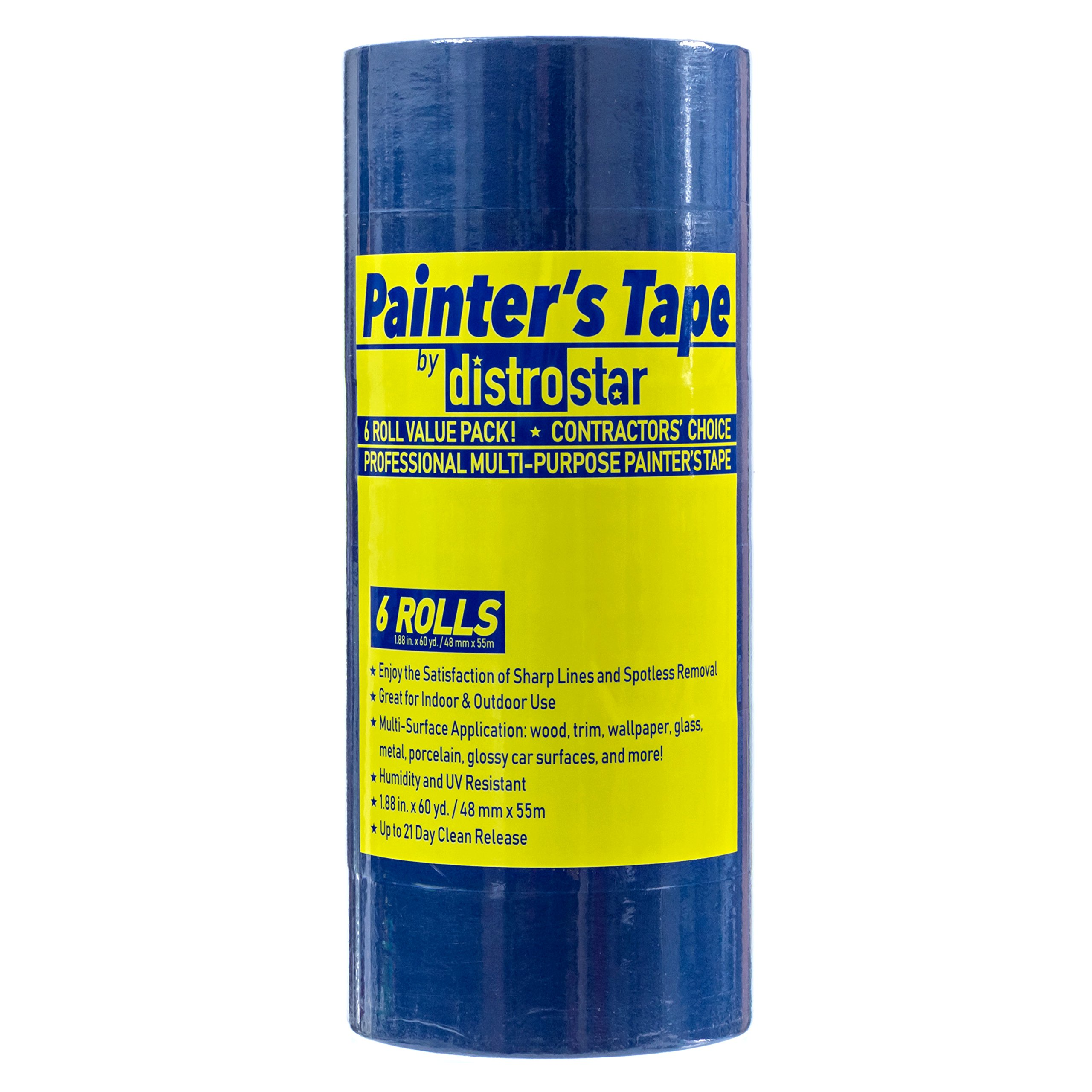 Painter's Tape Blue 2 inch (1.88 in x 60 yd) 6 Roll Contractor Pack UV Protection 21 Day Easy Peel Perfect Lines Humidity Resistant Paint Like A PRO Professional Painter Premium Quality Masking Value by Distro Star (Image #2)