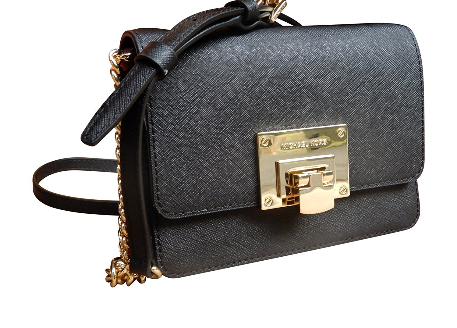 67fc307af2b3 Galleon - Michael Kors Tina Small Leather Clutch, Crossbody Shoulder Bag,  Black