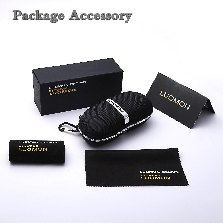 2c6d5273614c1 Amazon.com  LUOMON Polarized Clubmaster Sunglasses with Black Frame Grey  48mm Semi Rimless Lens LM017  Clothing
