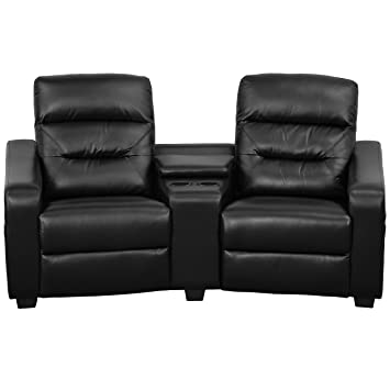 Flash Furniture Futura Series 2 Seat Reclining Black Leather Theater  Seating Unit With Cup Holders