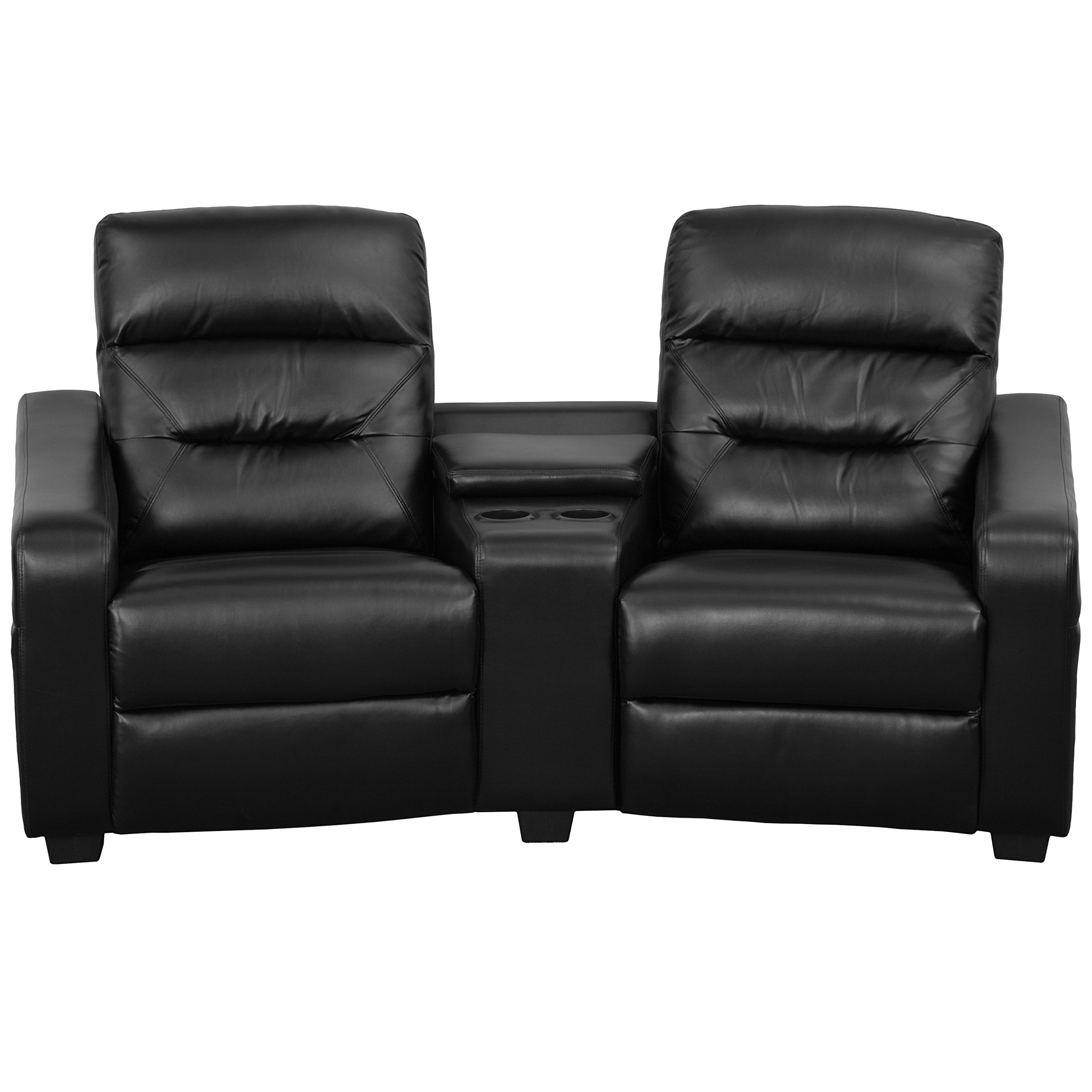 Flash Furniture Futura Series 2-Seat Reclining Black Leather Theater Seating Unit with Cup Holders by Flash Furniture