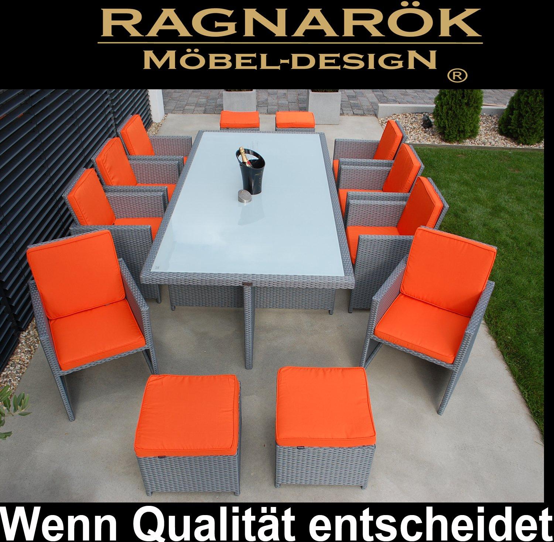 PolyRattan Essgruppe DEUTSCHE MARKE -- EIGNENE PRODUKTION Tisch + 8x Stuhl & 4x Hocker 7 Jahre GARANTIE Garten Möbel incl. Glas und Sitzkissen Ragnarök-Möbeldesign Platinum-Grau Gartenmöbel Gartentisch Aluminium Rattan