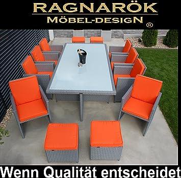 Ragnarök-Möbeldesign Salon de jardin en aluminium et polyrotin Table ...