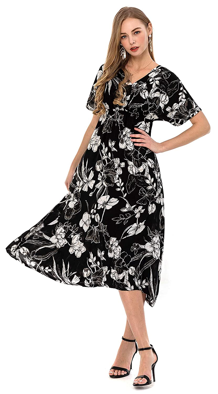 Wantdo Damen Boho V-Ausschnitt Strandkleider Maxi Lang T-Shirt Abendkleid mit ärmel Kurzarm Große Größen Lose