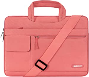 MOSISO Laptop Shoulder Bag Compatible with 2019 MacBook Pro 16 inch A2141, 15 15.4 15.6 inch Dell Lenovo HP Asus Acer Samsung Sony Chromebook, Polyester Flapover Briefcase Sleeve Case, Living Coral