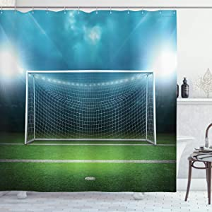 Ambesonne Soccer Shower Curtain, Soccer Goal Post Sports Area Winner Loser Line Floodlit Best Team Finals Game Theme, Cloth Fabric Bathroom Decor Set with Hooks, 70