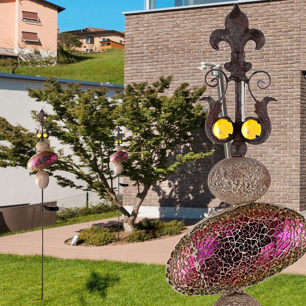 Set of 3 LED solar lights outdoor plug lighting garden stand lamps ...