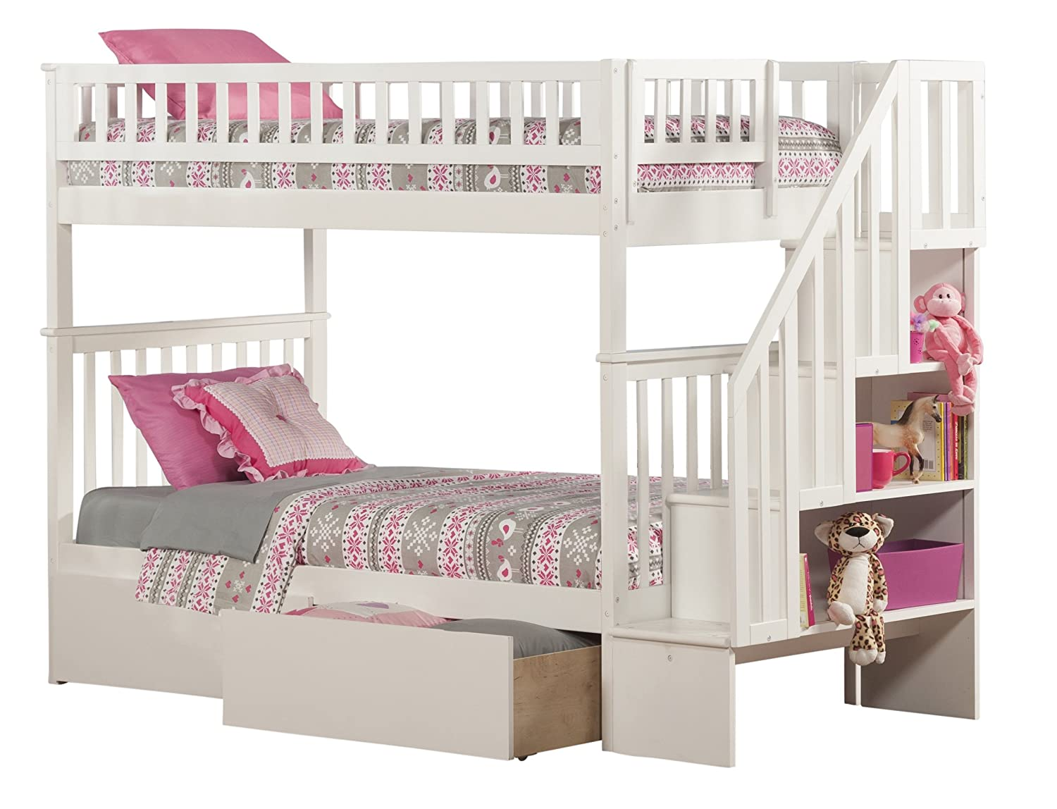 Woodland Staircase Bunk Bed with Urban Bed Drawers - White - Twin Over Twin