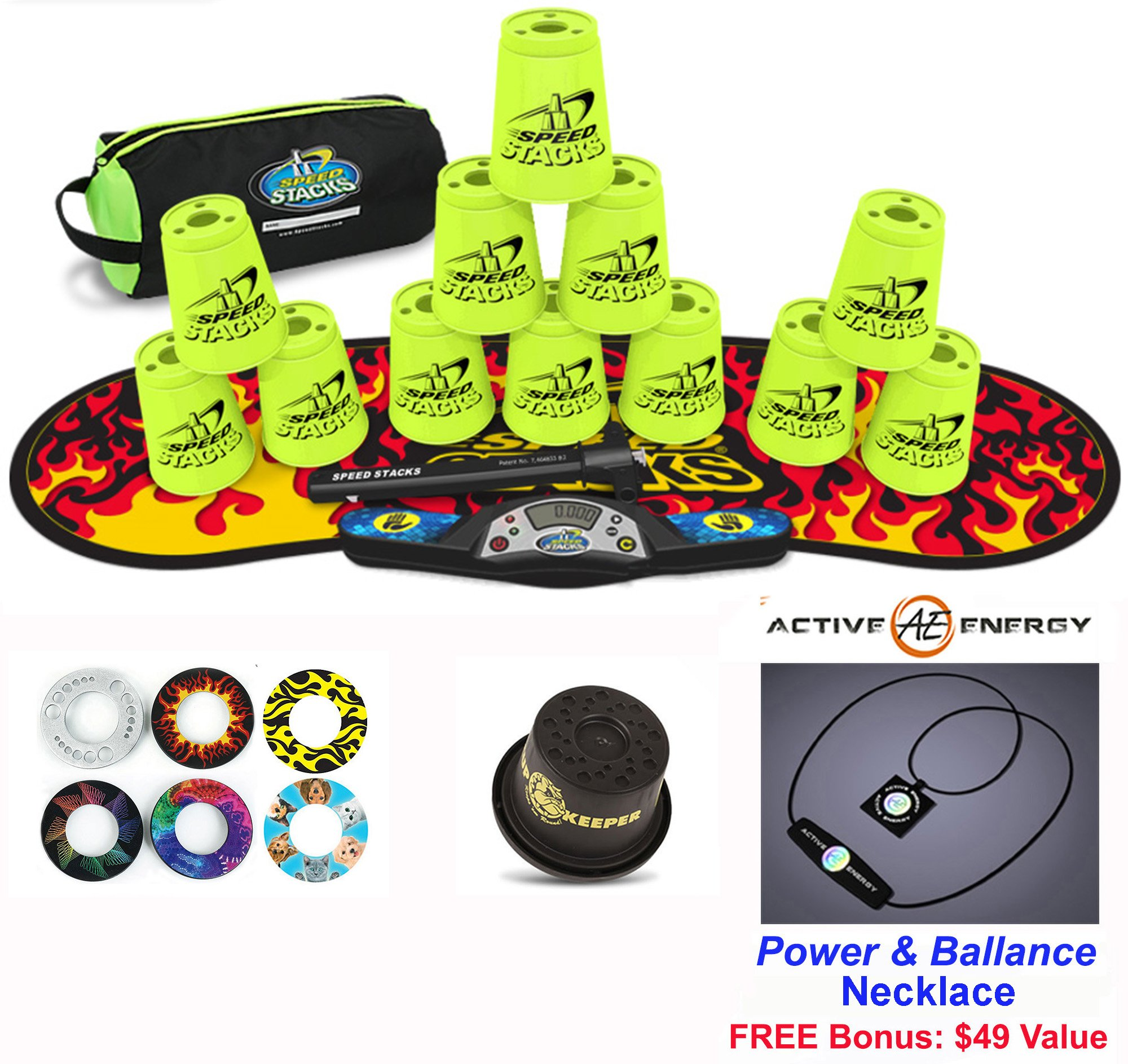 Speed Stacks Combo Set 'The Works'': 12 NEON YELLOW 4'' Cups, Black Flame Gen 3 Mat, G4 Pro Timer, Cup Keeper, Stem, Gear Bag + Active Energy Necklace