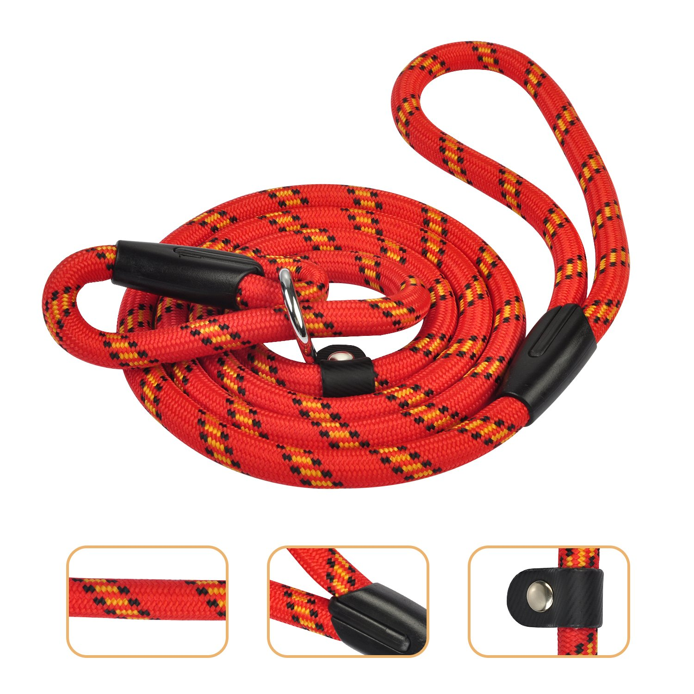 Ciaoed Gewebtes Hundegeschirr, Rot 1,75m Lang Verfilzt Gepolsterter Griffgeflecht Verstellbares Haustiertraining mit Krawatte