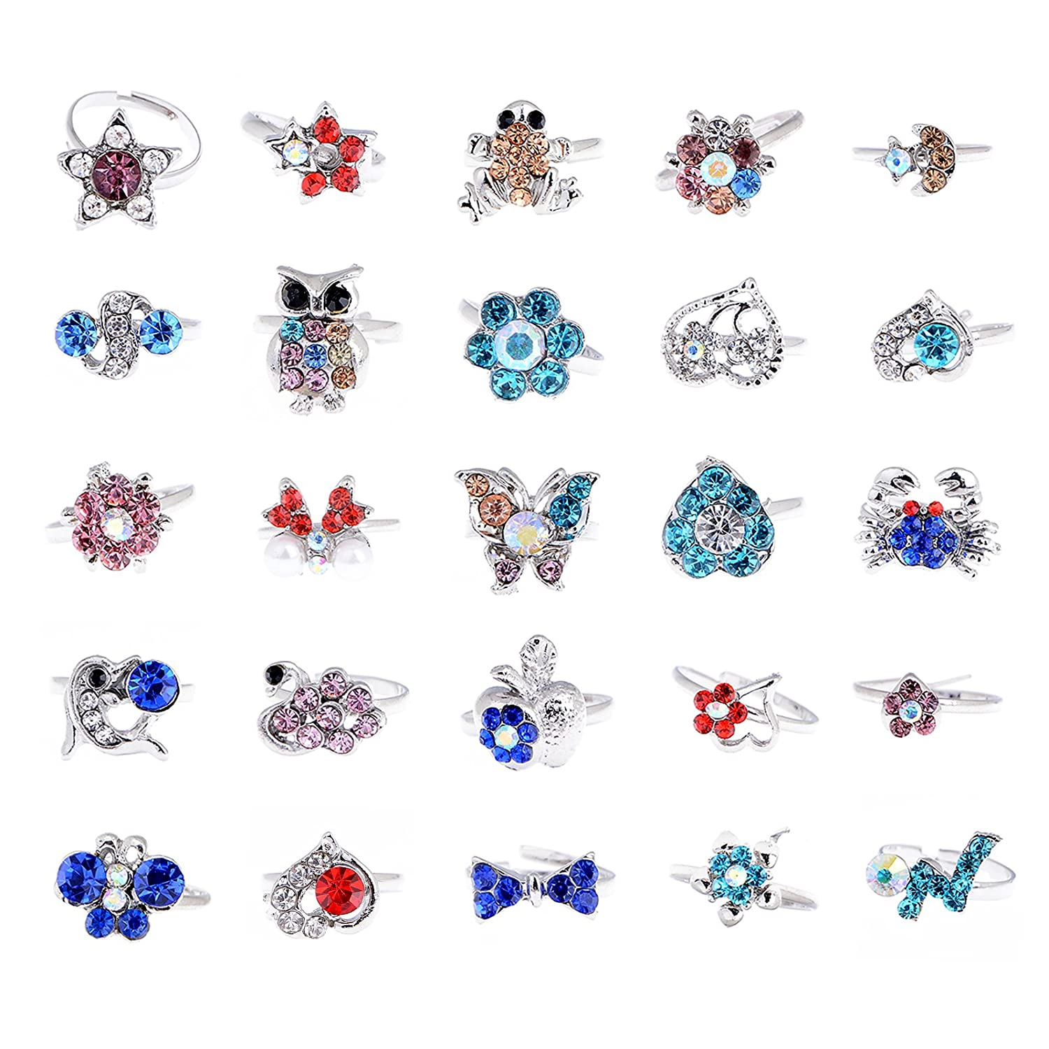 imixlot Lots of 20PCS Children Kids Mixed Cartoon Crystal Adjustable Cute Party Rings Yiwu City Yinuo E-Commercial Business Co. Ltd B013HICVWG_US