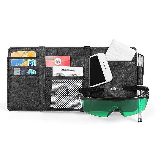 MRCARTOOL Car Sun Visor Organizer,Auto Interior Pocket Sunglass Pen Holder Parking Fuel Card Change Storage 30x14cm Gray