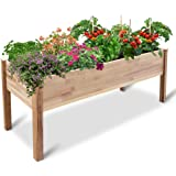 Jumbl Raised Canadian Cedar Garden Bed   Elevated Wood Planter for Growing Fresh Herbs, Vegetables, Flowers, Succulents & Oth