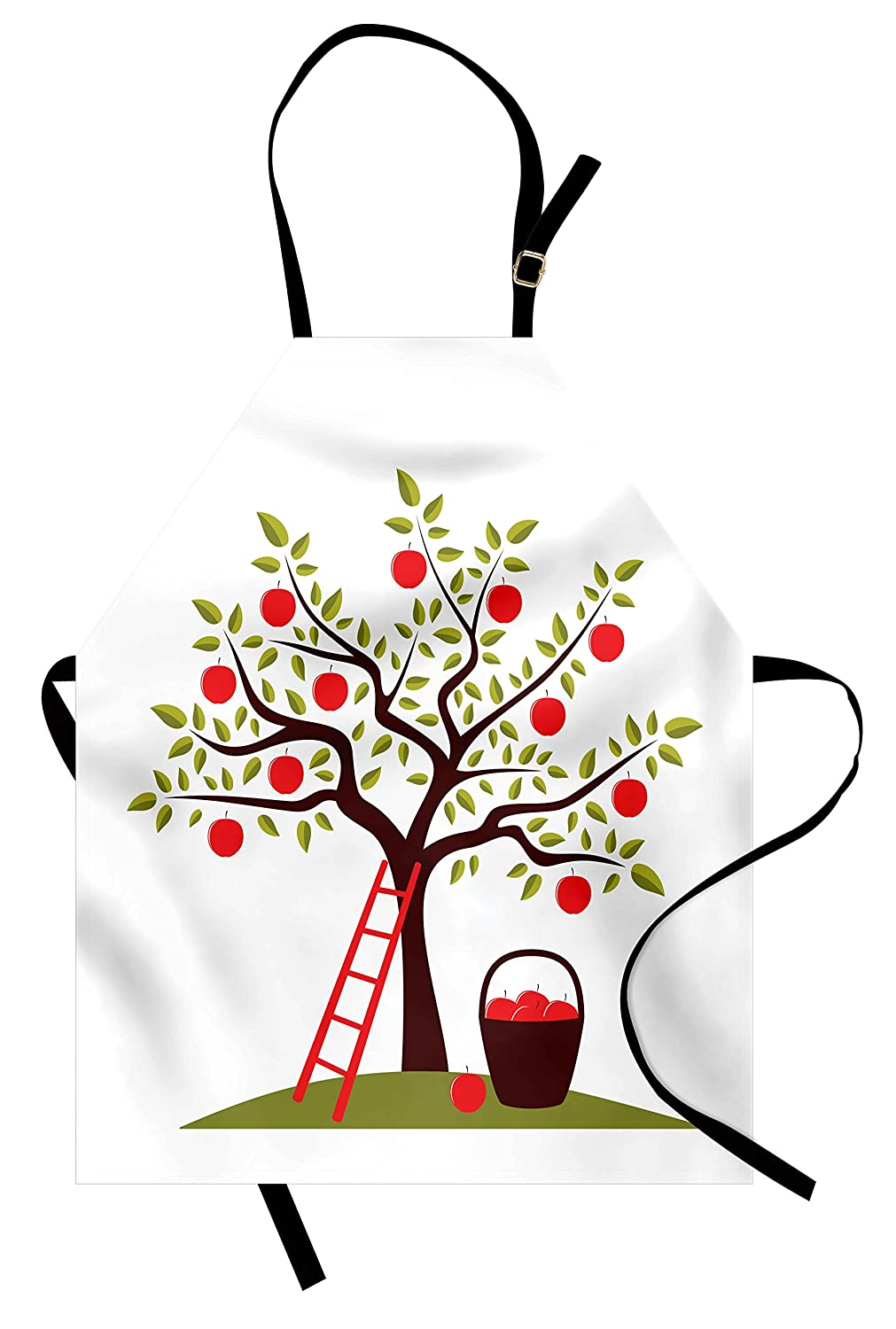 Lunarable Fruits Apron, Apple Tree, Ladder and Basket of Apples Countryside Agriculture Autumn Harvest, Unisex Kitchen Bib Apron with Adjustable Neck for Cooking Baking Gardening, Brown Red Green