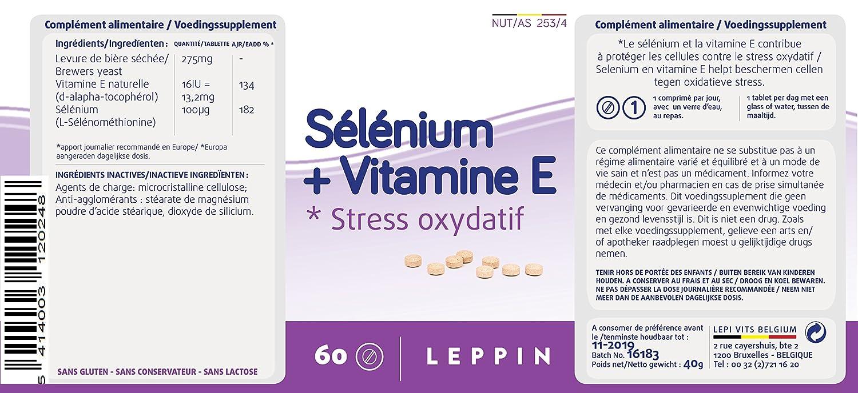 Leppin - Selenio + Vit E 60 Pastillas - Lucha Contra El Stress oxydatif - Alta biodisponibilité - Suplemento naturales: Amazon.es: Salud y cuidado personal