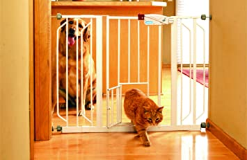 extra wide pet gate with small door