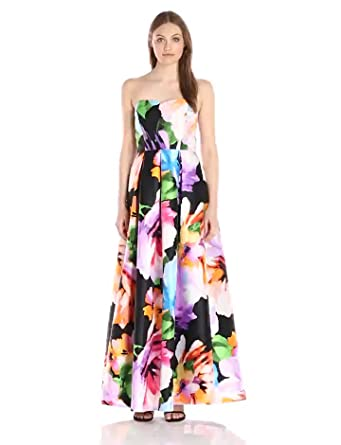 01613cbeb57 Amazon.com  Ellen Tracy Women s Strapless Sweetheart Neck Printed ...
