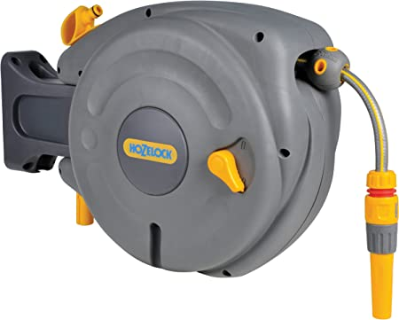 40M GARDEN WALL Mounted Auto Reel With Hose Water Tap Outdoor Watering Patio NEW